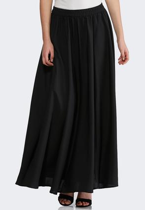 Plus Size Solid Swing Maxi Skirt