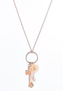 Flower Cluster Charm Pendant Necklace