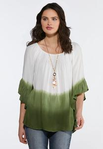 Plus Size Ombre Ruffled Sleeve Top
