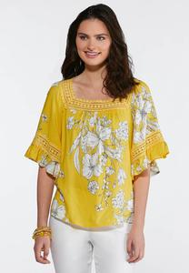 Gold Ruffle Sleeve Floral Top