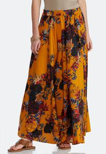 9f0f46b138c85 Golden Floral Swing Maxi Skirt