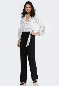 Plus Size Dots And Ties Jumpsuit