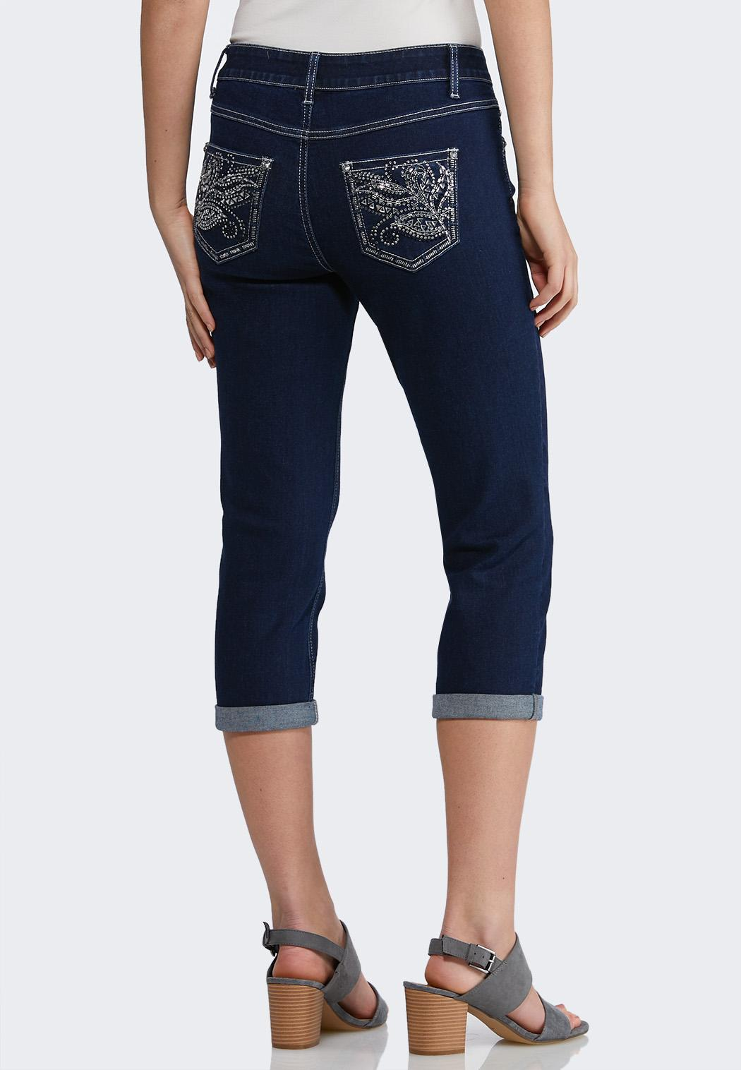 Cropped Mirrored Stud Jeans
