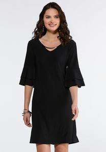 Plus Size Embellished Ruffled Sleeve Dress