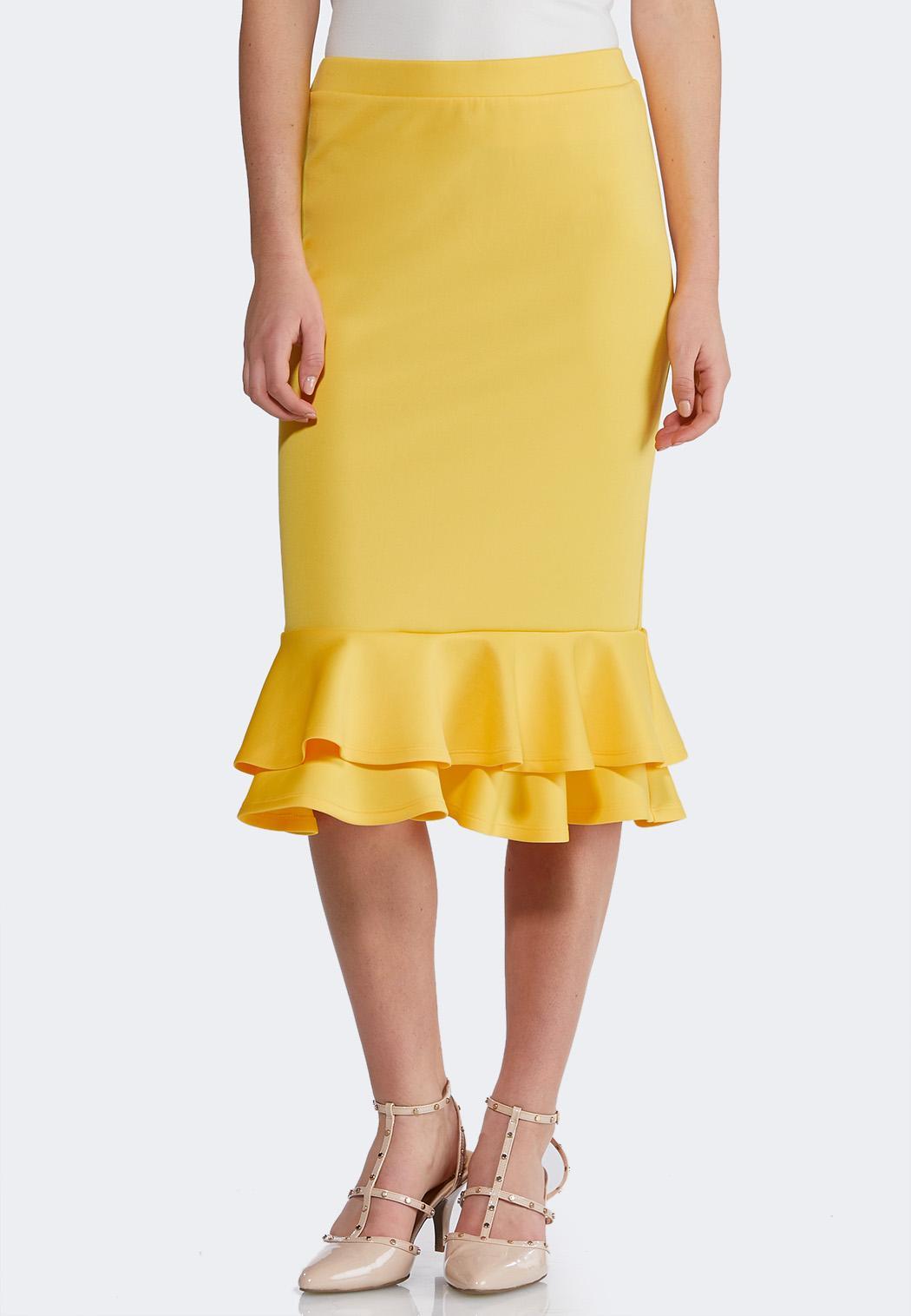 Gold Ruffled Midi Skirt