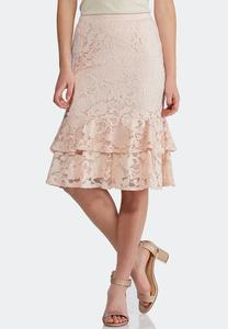 Ruffled Lace Midi Skirt