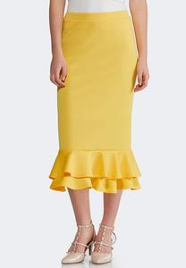 Plus Size Gold Ruffled Midi Skirt