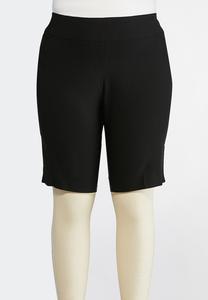 Plus Size Neutral Bengaline Bermuda Shorts