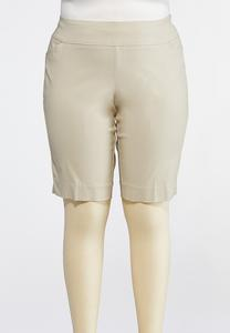 Plus Size Neutral Bengaline Bermuda Shorts