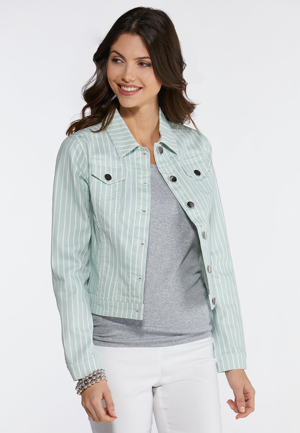 7d4527fb38e Plus Size Light Green Striped Denim Jacket Jackets Cato Fashions