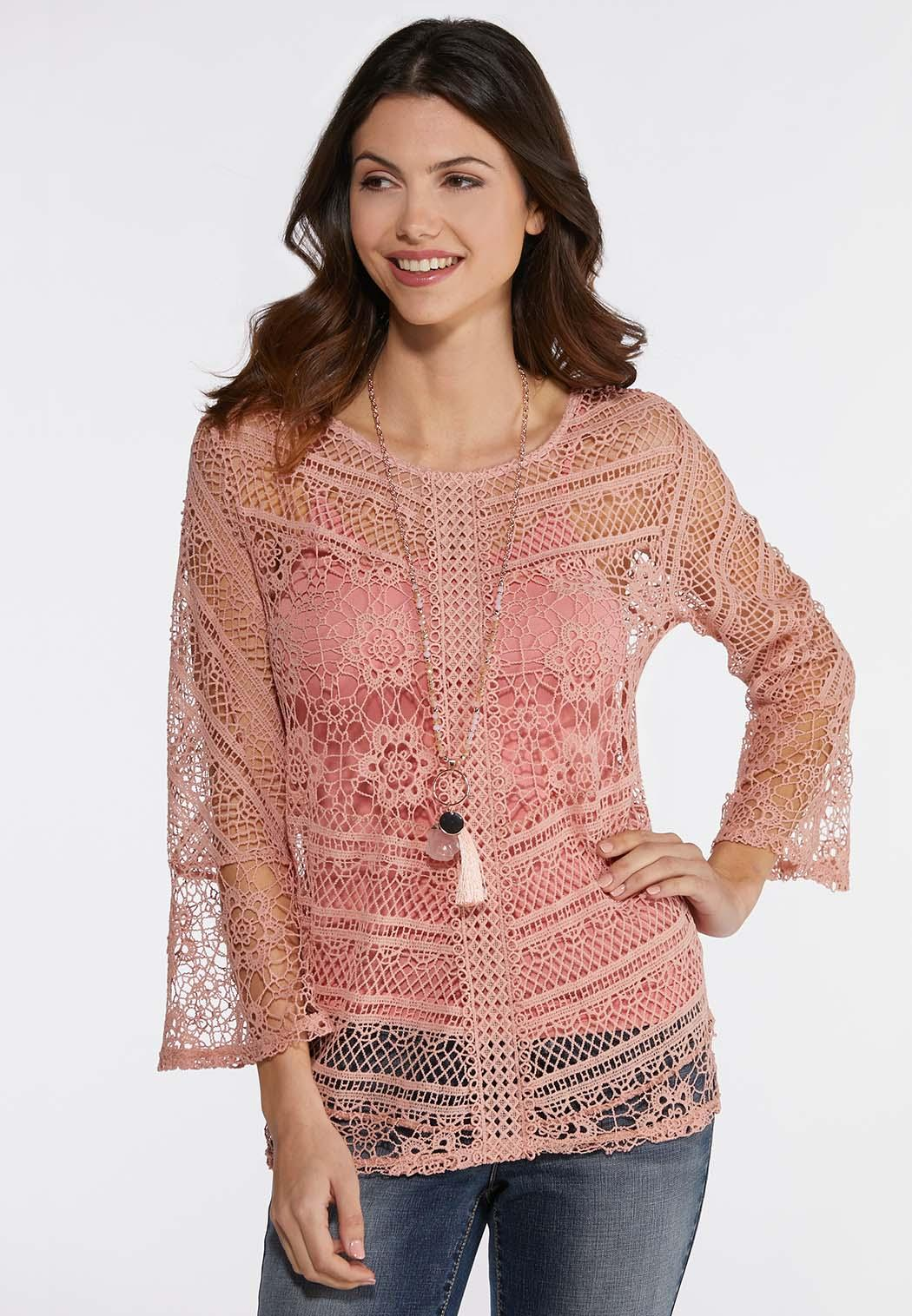 57c87b061aa5d Allover Crochet Top alternate view Allover Crochet Top