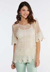 Plus Size Crochet Scalloped Trim Top