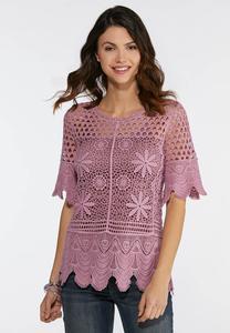 f9f46319ff2 Plus Size Crochet Scalloped Trim Top