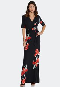 Plus Size Floral Tie Waist Maxi Dress