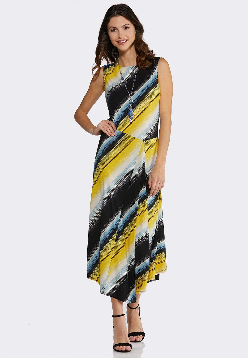 fb7483824eaa15 Plus Size Brush Stripe Maxi Dress Midi Cato Fashions
