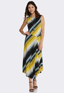 Plus Size Brush Stripe Maxi Dress