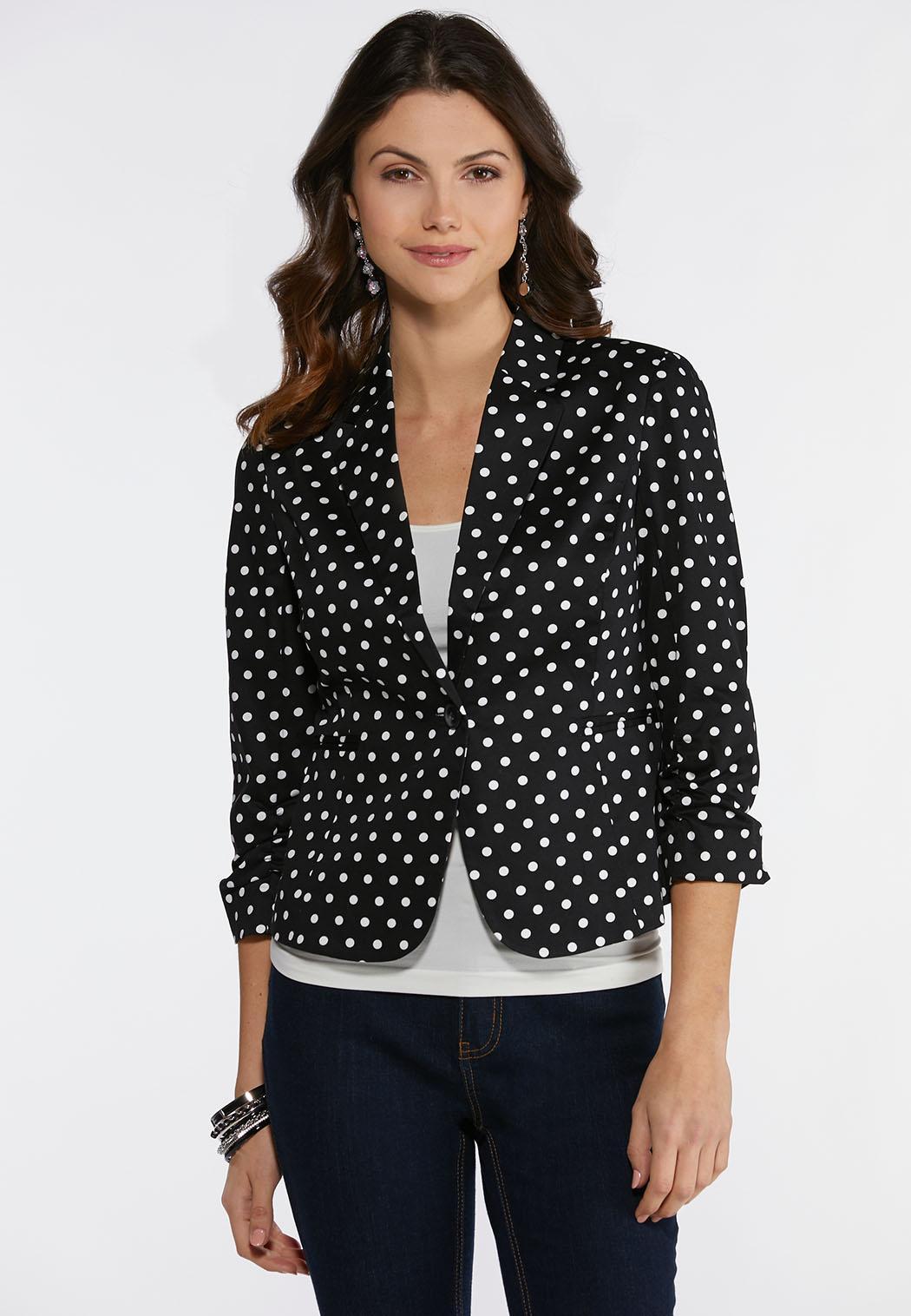 Plus Size Polka Dotted Blazer Fashion Jackets Cato Fashions
