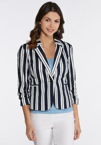 Plus Size Navy Stripe Blazer
