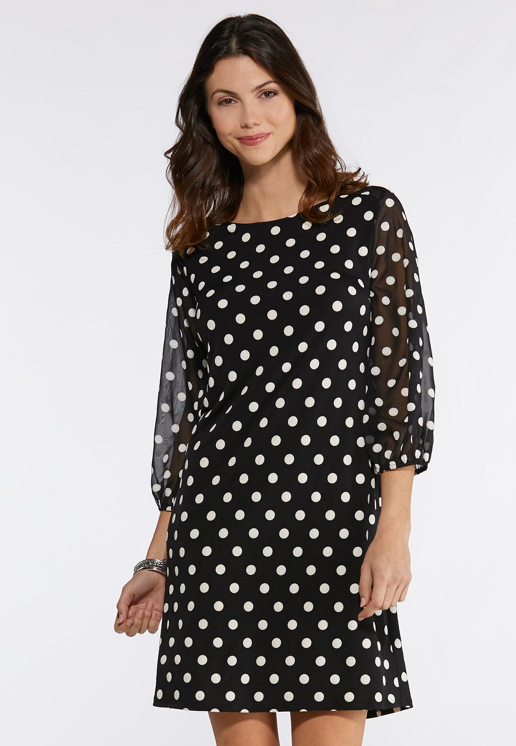 Dotted Sheer Sleeve Dress