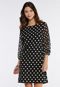 Plus Size Dotted Sheer Sleeve Dress
