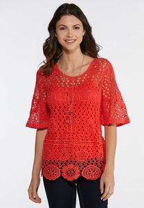 Plus Size Coral Crochet Top