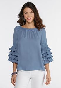 Smocked Ruffle Sleeve Top