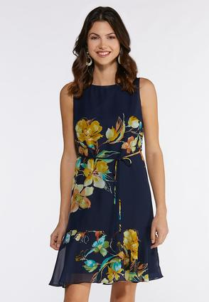 Tie Waist Floral Navy Dress