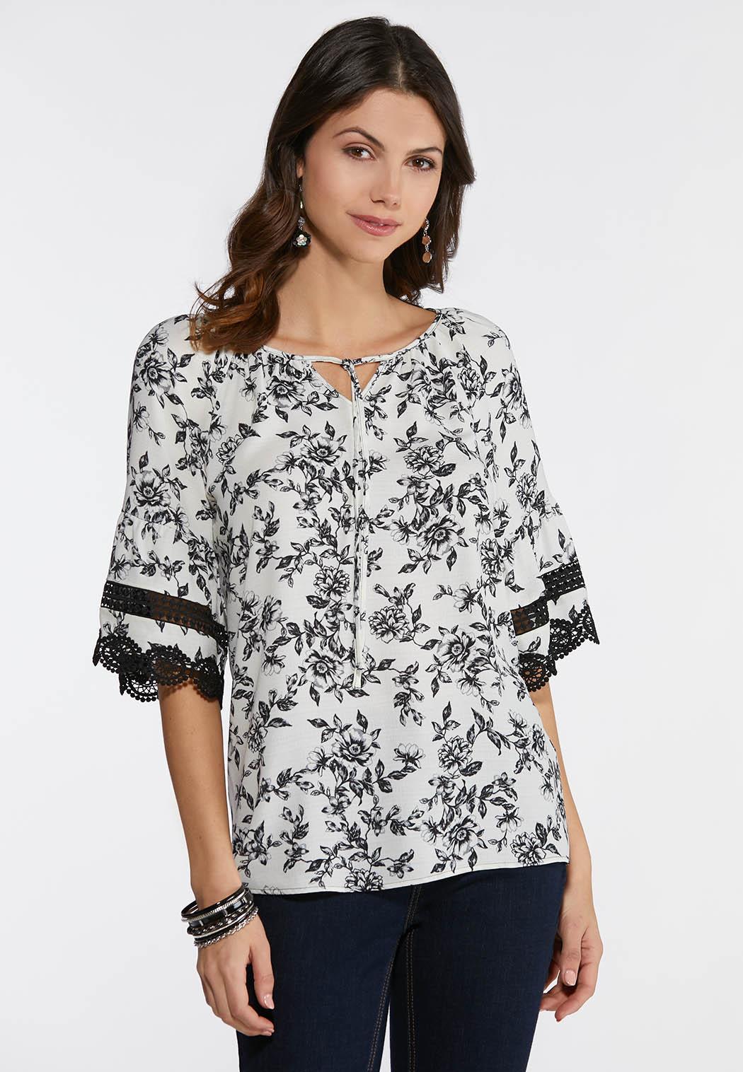 12e1bbea9af4c Noir Floral Poet Top Shirts   Blouses Cato Fashions
