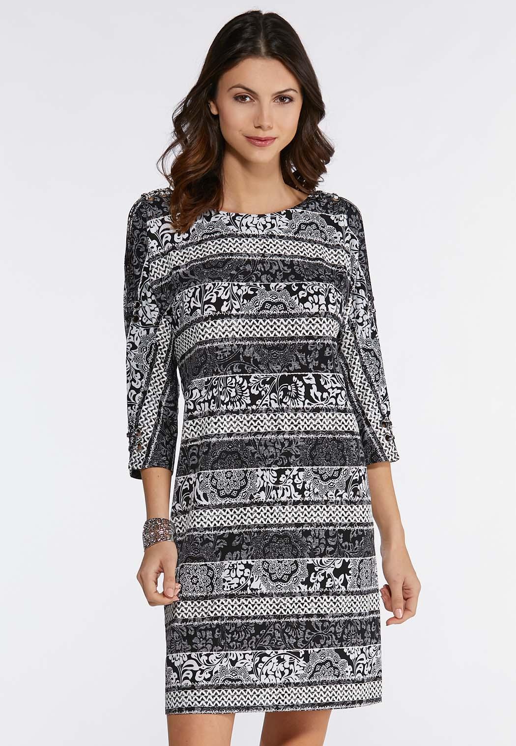 Plus Size Contrast Puff Floral Dress