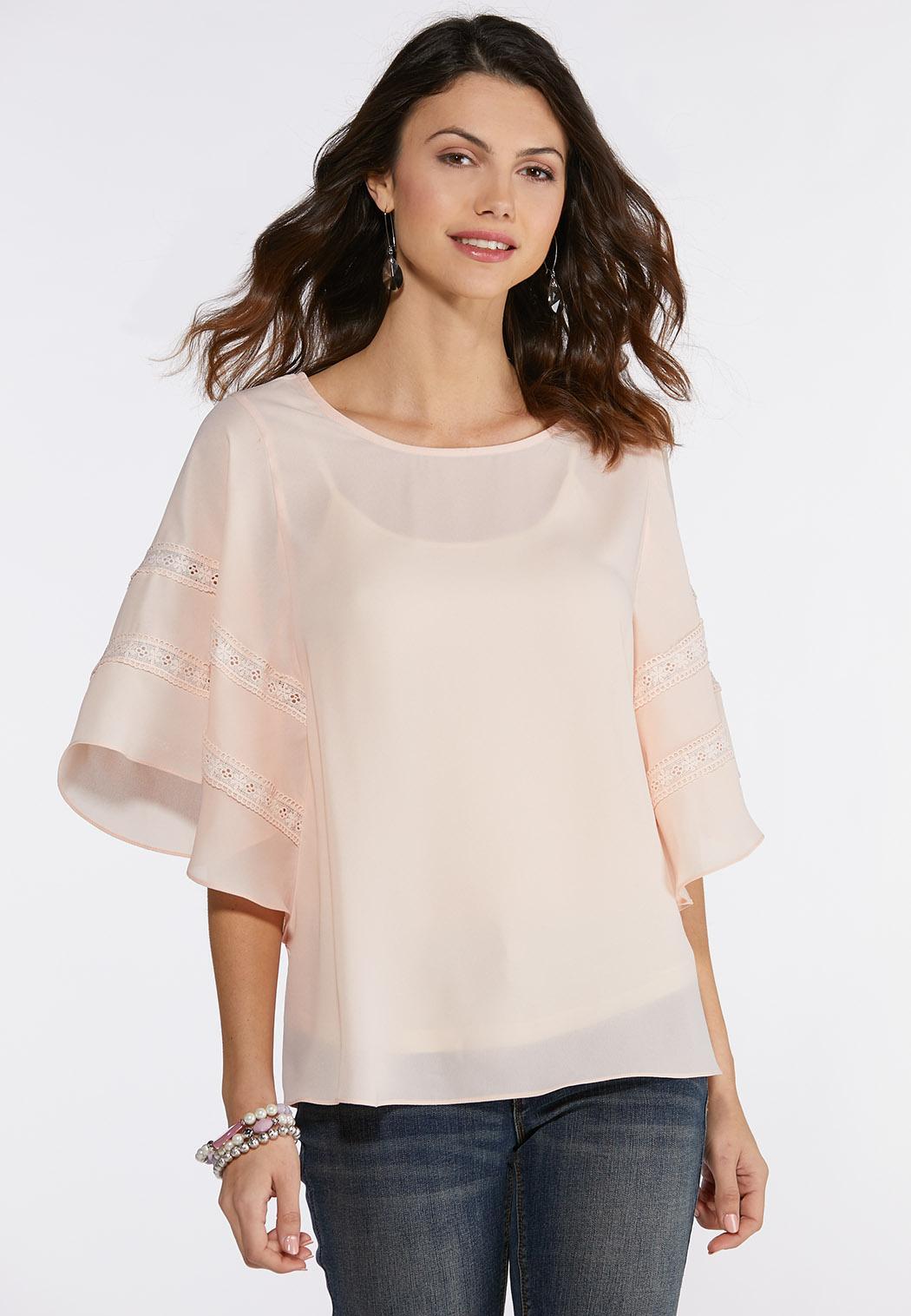 8dbf1d0367b4c2 Plus Size Blush Lace Trim Top Shirts & Blouses Cato Fashions