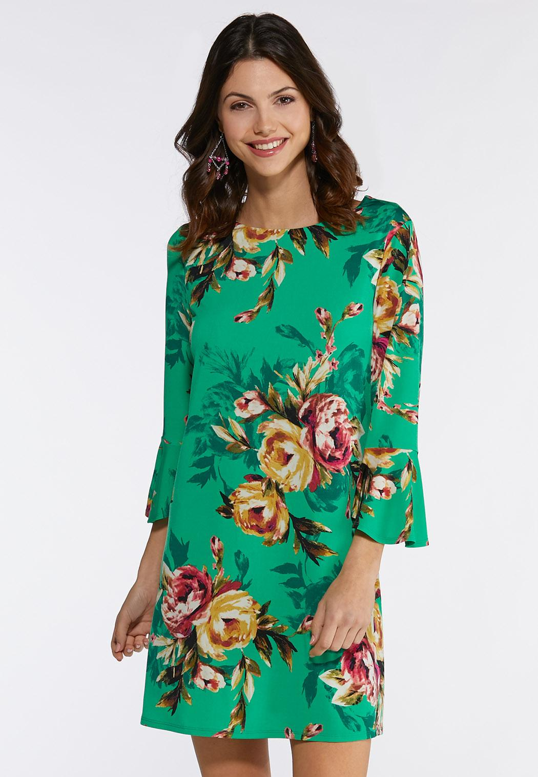 7d9246c8a9e6 Plus Size Green Floral Dress Dresses Cato Fashions