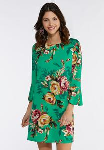 Plus Size Green Floral Dress