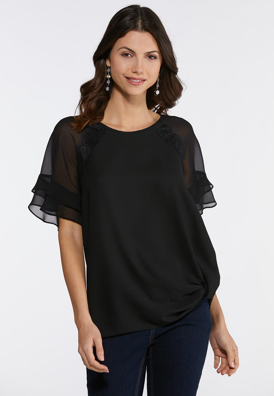 Plus Size Lace Detail Ruffle Sleeve Top