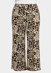 Plus Size Breezy Leopard Palazzo Pants