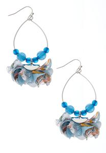 Beaded Wire Fabric Dangle Earrings