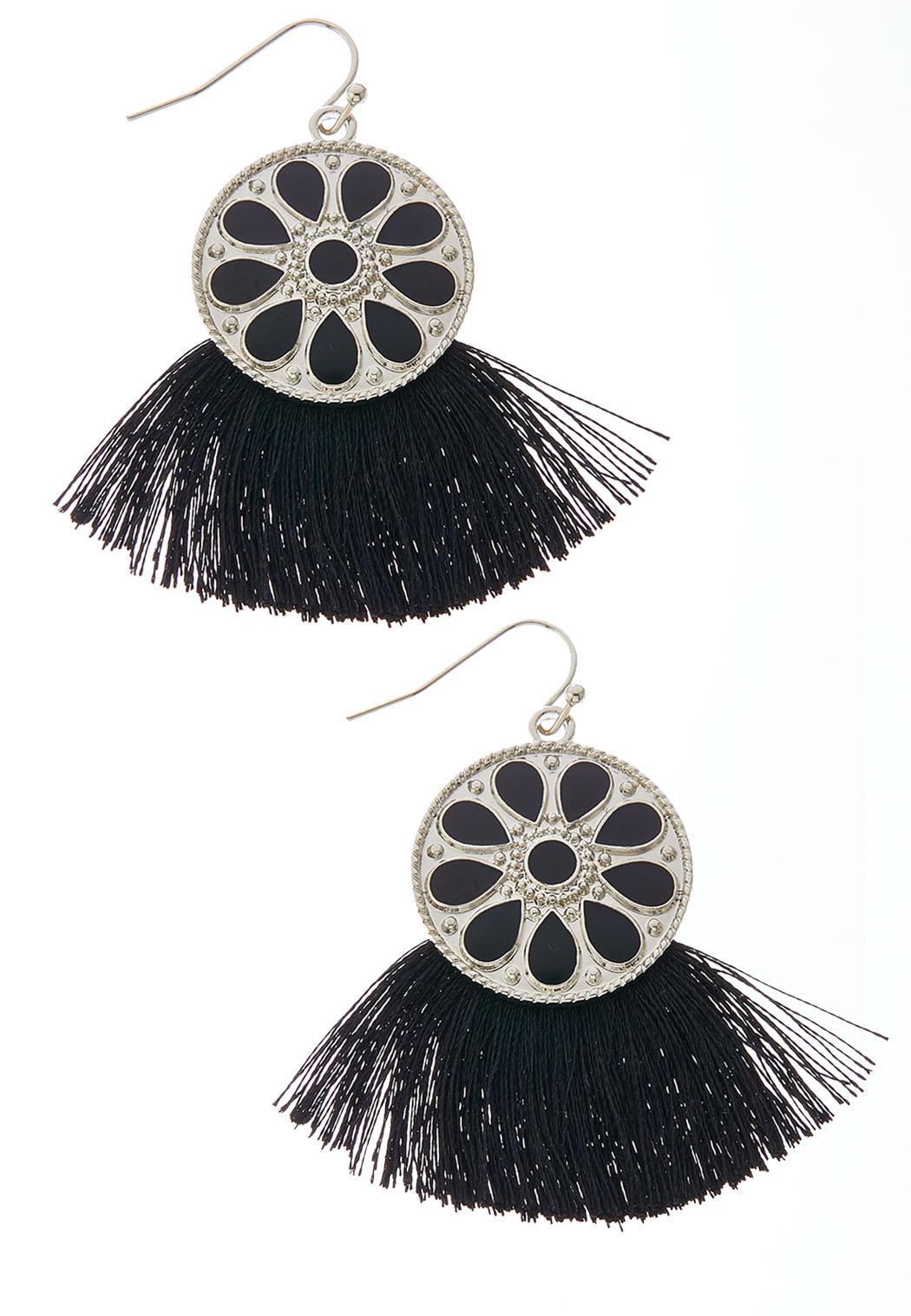 Enamel Shield Tassel Earrings
