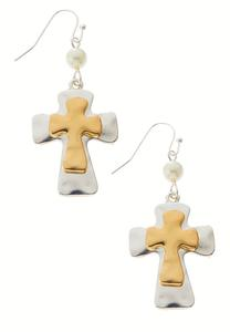 Two- Tone Cross Dangle Earrings