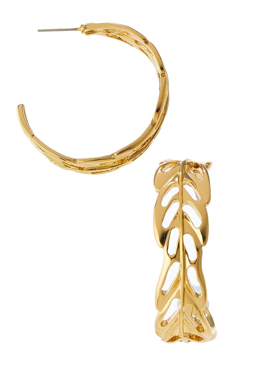 Cutout Leaf Hoop Earrings