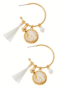 Glitter Tassel Charm Hoop Earrings