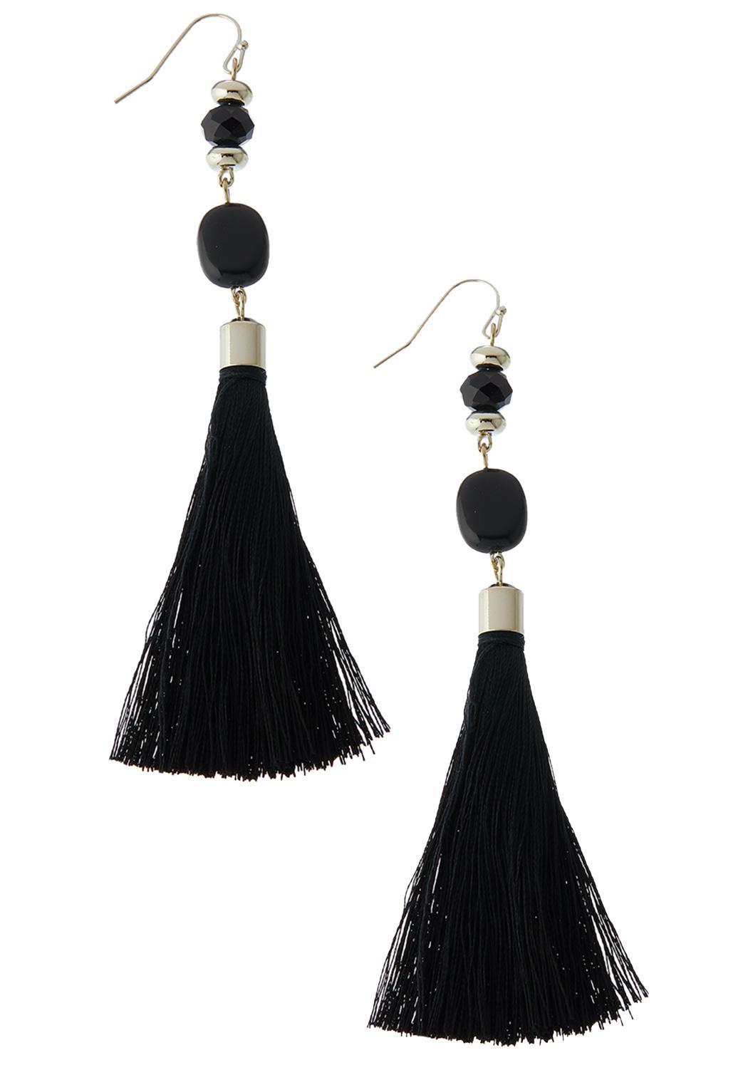Bead Fabric Tassel Earrings