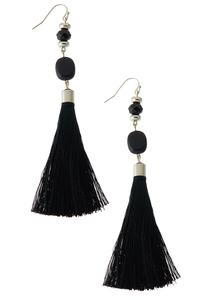 Bead Fabric Tassel Earrings