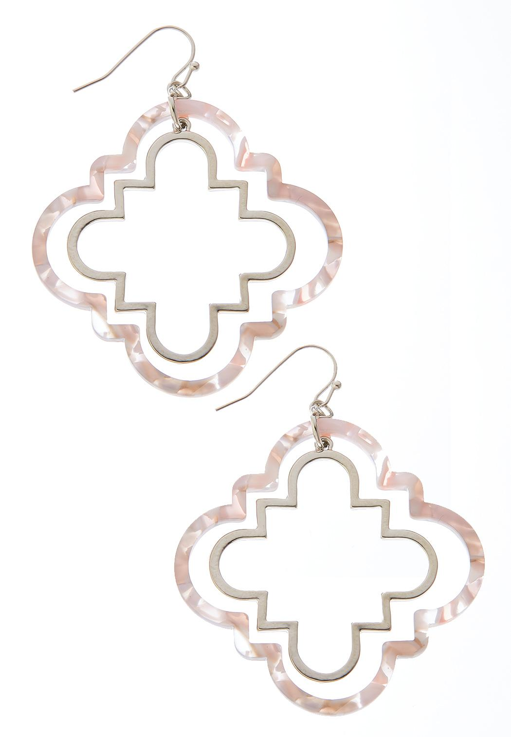 Cutout Clover Marbleized Earrings