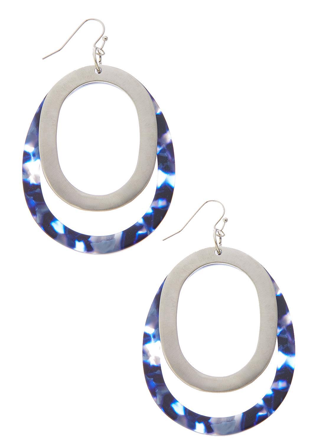 Double Hoop Metal Lucite Earrings