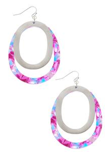 Double Hoop Metal Lucite Earrings