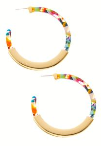 Metal Confetti Lucite Hoop Earrings