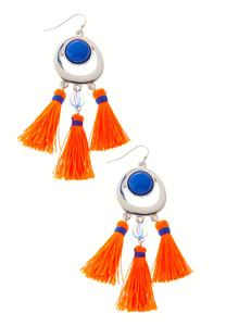 Vibrant Triple Tassel Earrings