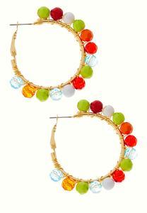 Colorful Floating Bead Hoop Earrings