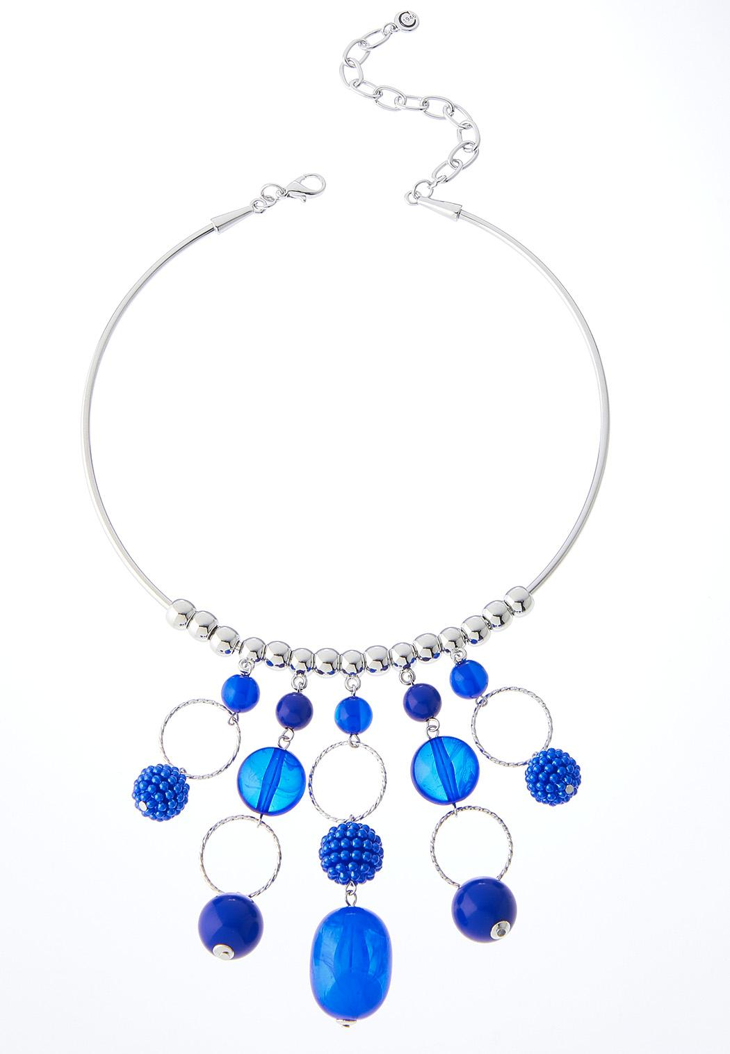 Linear Bead Wire Pendant Necklace