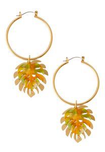 Palm Leaf Hoop Earrings