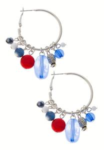 Americana Beaded Hoop Earrings
